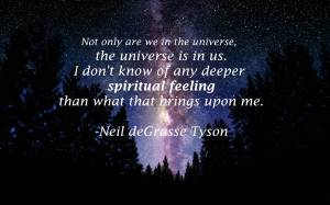 «Not only are we in the universe, the universe is in us. I don't know of any deeper spiritual feeling than what that brings upon me.» – Neil deGrasse Tyson (http://www.fromquarkstoquasars.com/10-best-quotes-from-neil-degrasse-tyson/)